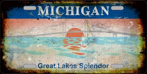 Michigan Rusty State Background Wholesale Metal Novelty License Plate