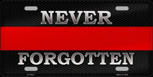 Never Forgotten Thin Red Line Wholesale Metal Novelty License Plate