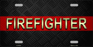 Firefighter Thin Red Line Wholesale Metal Novelty License Plate