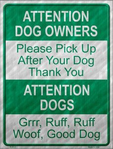 Dog Owners Wholesale Metal Novelty Parking Sign
