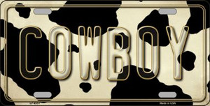 Cowboy Cow Print Background Wholesale Metal Novelty License Plate