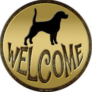 Welcome With Dogs Wholesale Novelty Metal Circular Sign