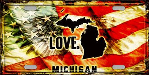 Michigan Love Wholesale Metal Novelty License Plate