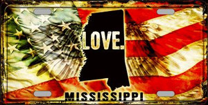 Mississippi Love Wholesale Metal Novelty License Plate