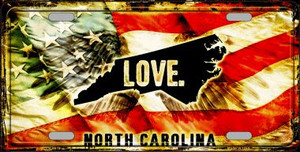 North Carolina Love Wholesale Metal Novelty License Plate