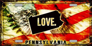 Pennsylvania Love Wholesale Metal Novelty License Plate