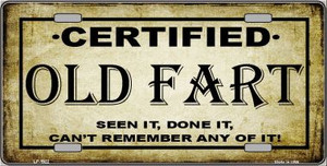 Certified Old Fart Wholesale Metal Novelty License Plate LP-1922