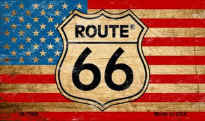Route 66 American Flag On Wood Wholesale Novelty Metal Magnet
