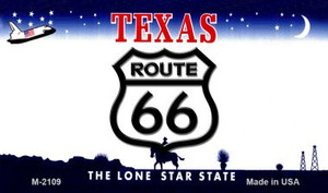 Route 66 On Texas Background Wholesale Novelty Metal Magnet
