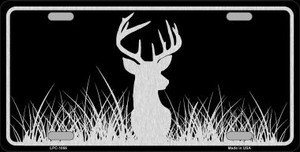 Deer Black Brushed Chrome Novelty Wholesale Metal License Plate