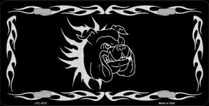 Dog In Flames Black Brushed Chrome Novelty Wholesale Metal License Plate