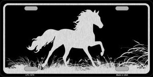 Horse Black Brushed Chrome Novelty Wholesale Metal License Plate