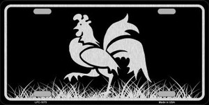 Rooster Black Brushed Chrome Novelty Wholesale Metal License Plate