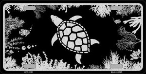 Turtle Black Brushed Chrome Novelty Wholesale Metal License Plate