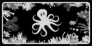 Octopus Black Brushed Chrome Novelty Wholesale Metal License Plate