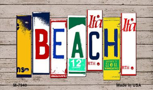 Beach Wood License Plate Art Wholesale Novelty Metal Magnet