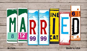 Married Wood License Plate Art Wholesale Novelty Metal Magnet