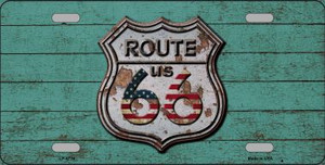 Route 66 Rusty On Wood Wholesale Metal Novelty License Plate