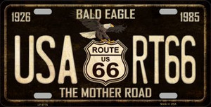 Bald Eagle Route 66 Wholesale Metal Novelty License Plate