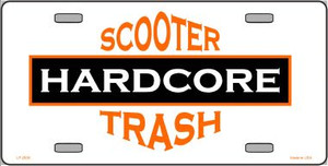 Hardcore Scooter Trash White Novelty Wholesale Metal License Plate LP-2005