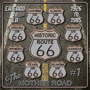 Route 66 Black Top Wholesale Novelty Metal Square Sign