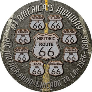 Route 66 Black Top Wholesale Novelty Metal Circular Sign
