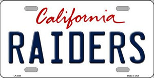Raiders California State Background Novelty Wholesale Metal License Plate LP-2036