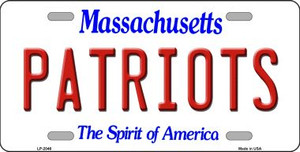 Patriots Massachusetts State Background Novelty Wholesale Metal License Plate LP-2046