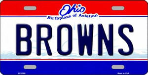 Browns Ohio State Background NoveltyWholesale Metal License Plate LP-2056
