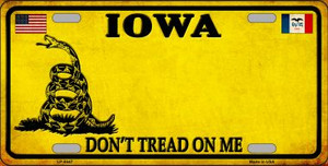 Iowa Don't Tread On Me Wholesale Metal Novelty License Plate