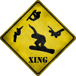 Snow Boarder Xing Wholesale Novelty Metal Crossing Sign