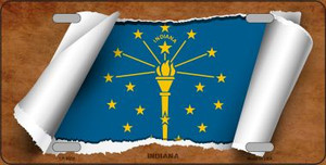 Indiana Flag Scroll Wholesale Metal Novelty License Plate