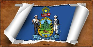 Maine Flag Scroll Wholesale Metal Novelty License Plate