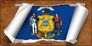 Wisconsin Flag Scroll Wholesale Metal Novelty License Plate