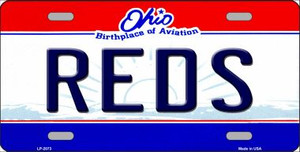 Reds Ohio State Background Wholesale Novelty Metal License Plate LP-2073