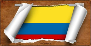 Colombia Flag Scroll Wholesale Metal Novelty License Plate