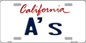 A's California State Background Wholesale Novelty Metal License Plate