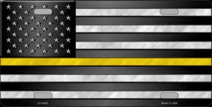 American Flag Thin Yellow Line Novelty Wholesale Metal License Plate