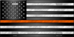 American Flag Thin Orange Line Novelty Wholesale Metal License Plate