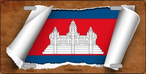 Cambodia Flag Scroll Wholesale Metal Novelty License Plate