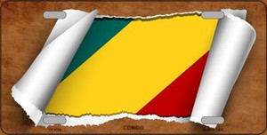 Congo Flag Scroll Wholesale Metal Novelty License Plate