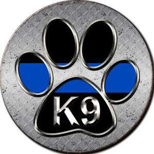 Paw Thin Blue Line K-9 Wholesale Novelty Metal Circular Sign