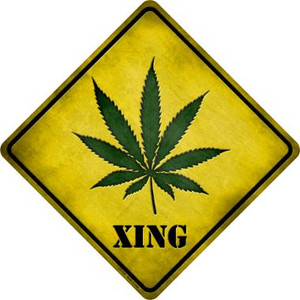 Cannabis Xing Wholesale Novelty Metal Crossing Sign