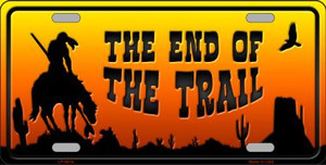 End Of Trail Scenic Background Novelty Wholesale Metal License Plate
