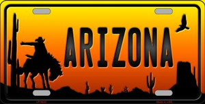 Rodeo Arizona Scenic Background Novelty Wholesale Metal License Plate