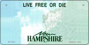 New Hampshire Novelty State Background Bicycle License Plate