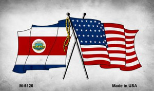 USA Costa Rica Crossed Flags Wholesale Novelty Metal Magnet