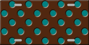 Teal Polka Dots Brown Wholesale Metal Novelty License Plate