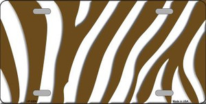 Brown White Zebra Print Wholesale Metal Novelty License Plate