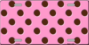 Chocolate Brown Polka Dots Pink Wholesale Metal Novelty License Plate